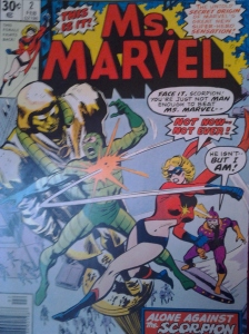 Ms. Marvel beating up manly superheroes