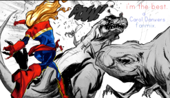 Captain Marvel punches a dinosaur