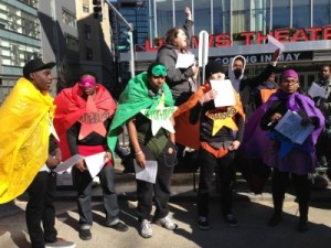 Young Superheroes protest the MBTA (photo courtesy of Steve Annear and Boston Magazine)
