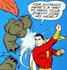Shazam punching a dinosaur!