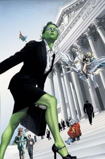 She Hulk marches up the steps of the capitol