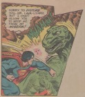 Superman punches a dinosaur