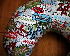 Comic book nursing pillow via BixbyBasil's Etsy shop