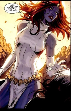 Mystique in *gasp* clothing!