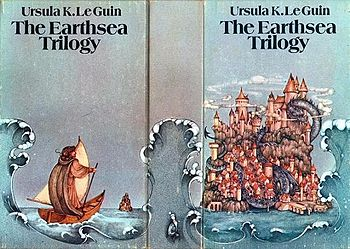 "Boxed set cover art of the first three books in the ""Earthsea"" series, as issued in 1975. Artwork by Pauline Ellison."